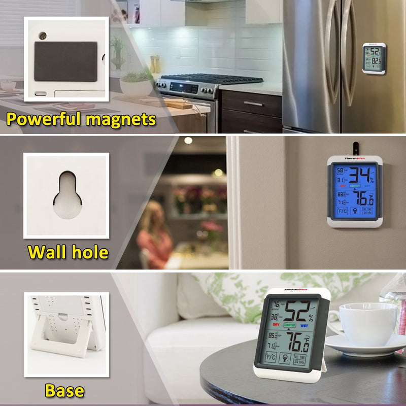 ThermoPro TP-55 Humidity and Temperature Monitor Mounting  Options - Magnetic, Wall mountable, Stand