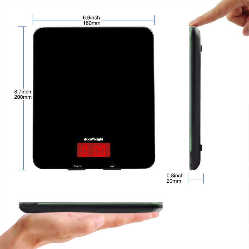 Accuweight AW-KS001WB Digital Kitchen Food Scale 8.7'' length, 6.8'' width, 0.8 width
