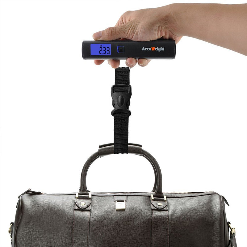 Accuweight AW-LS001BB Portable Digital Luggage Scale Front View Weighing Luggage