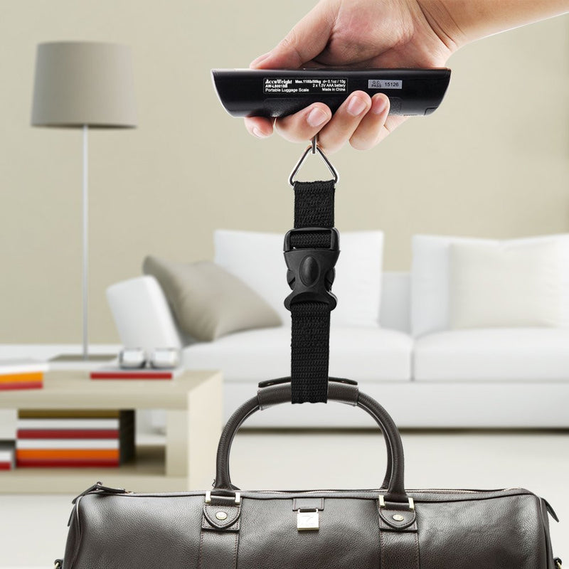 Accuweight AW-LS001BB Portable Digital Luggage Scale Side View Weighing Luggage
