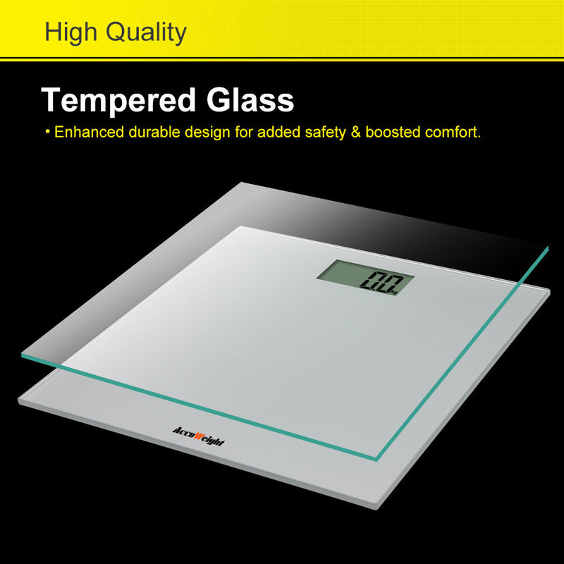 Accuweight AW-BS001BS Tempermed Glass enhanced durable design for safety and boosted comfort