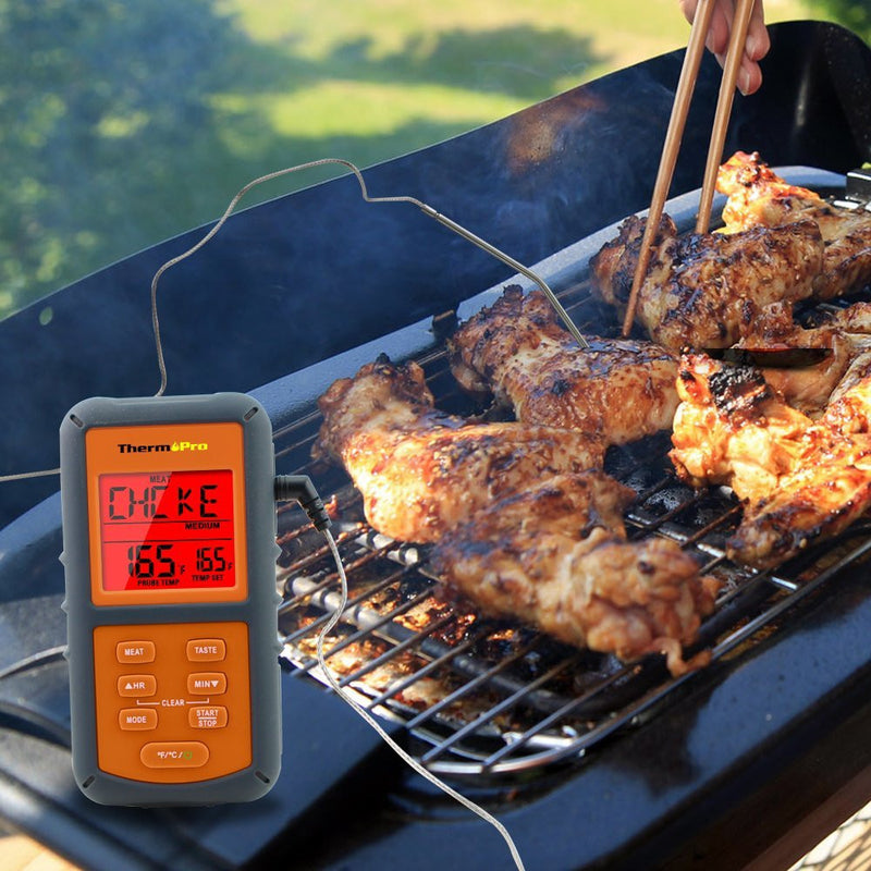 ThermoPro TP-06 Digital Meat Thermometer - Inserted into chicken on the BBQ