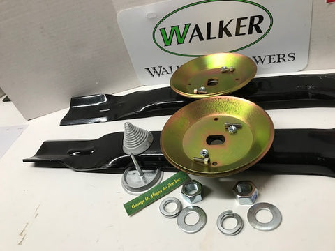 "Walker Mower 48"" GHS Blade Set with hubs and shear Made in USA + FREE blade balancer and mounting hardware"