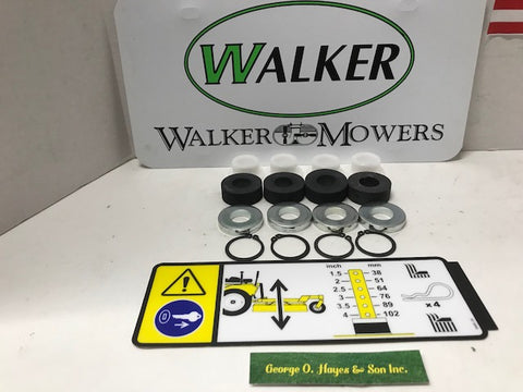 WALKER OEM DECK BUSHING SET-5740-2 , F123 snap rings, shims, rubber washers & decal