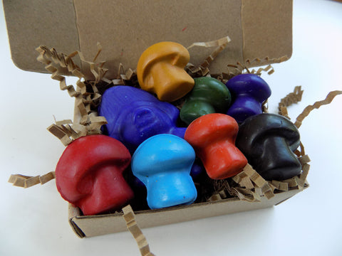 Gnome and Mushrooms - All Natural Soy Crayons (set of eight)