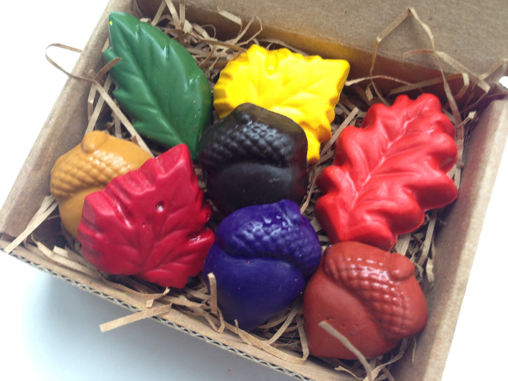Natural Soy Crayons - Eco Leaves and Acorn Crayons - Green Gift
