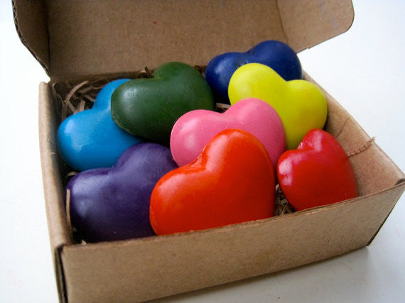 Natural Soy Crayons - Eco Heart Crayons - Green Gift