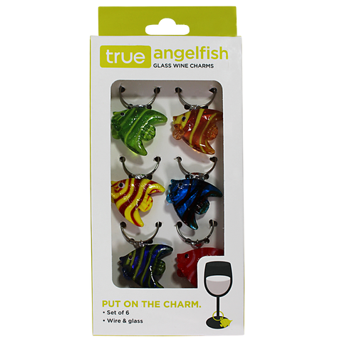 True Angelfish Glass Wine Charms