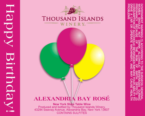 Photo of Alexandria Bay Rosé Pink Birthday Wine Label
