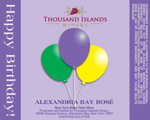 Image of Alexandria Bat Rosé Purple Birthday Wine Label