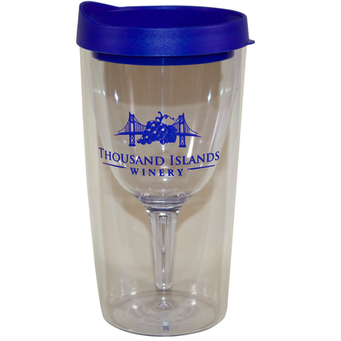 Photo of TIW Insulated Wine Cup with blue lid and logo