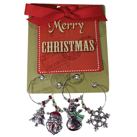 Merry Christmas Wine Glass Tags