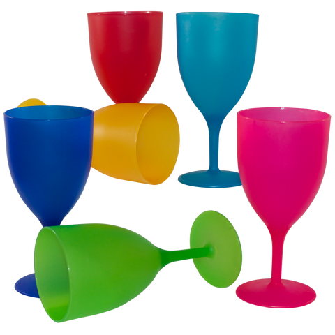 6 Piece Plastic Wine Glass Set