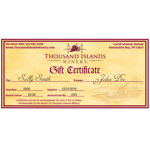 Image of Winery gift certificate