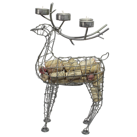Silver Reindeer Cork Cage and Candle Holder