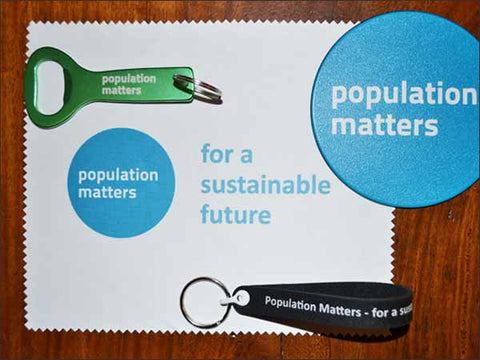 Bundle of Population Matters merchandise