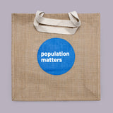 Fairtrade eco-friendly shopper bag from Population Matters, in hessian