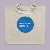 Fairtrade eco-friendly shopper bag from Population Matters, in 'parchment'