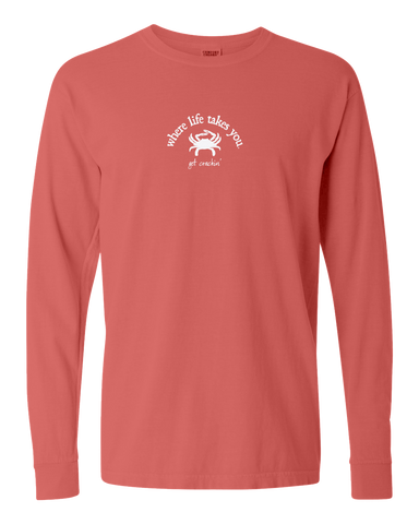 "WLTY Crab ""Get Crackin"" Adult Long Sleeve T-Shirt"