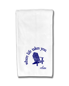 "WLTY Adirondack Chair ""Relax"" Flour Sack Kitchen Towel"