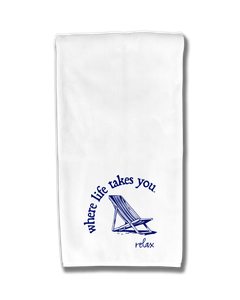 "WLTY Beach Chair ""relax"" Flour Sack Kitchen Towel"