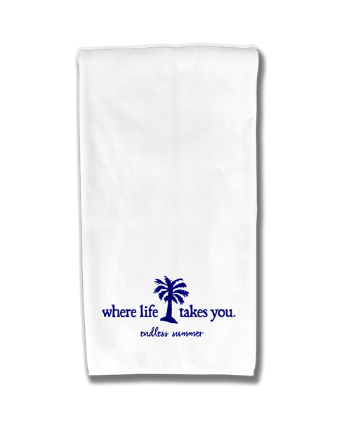 "WLTY Palm Tree ""Endless Summer"" Flour Sack Kitchen Towel"