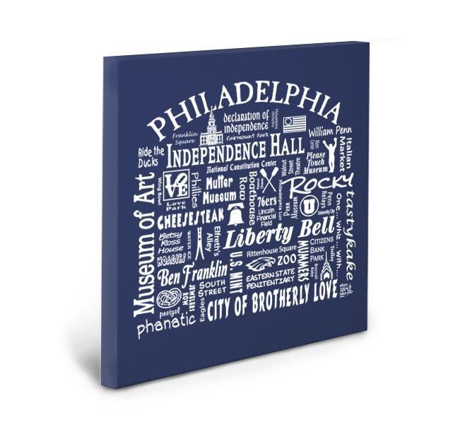 Philadelphia Location Gallery Wrapped Canvas (Navy)