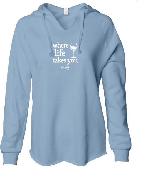 "WLTY Wine ""Enjoy"" Ladies Lightweight Hooded Sweatshirt"