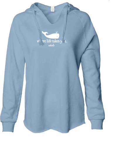 "WLTY Whale ""Exhale"" Ladies Lightweight Hooded Sweatshirt"