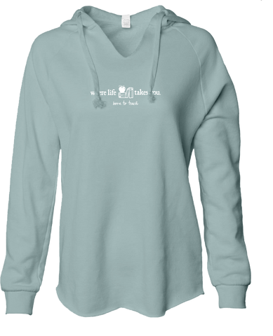 "WLTY Apples & Books ""Born to Teach"" Ladies Lightweight Hooded Sweatshirt"