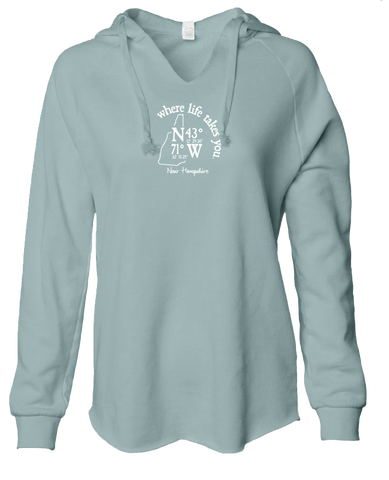 "WLTY Coordinates ""New Hampshire"" Ladies Lightweight Hooded Sweatshirt"
