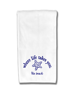 "WLTY Starfish ""The Beach"" Flour Sack Kitchen Towel"