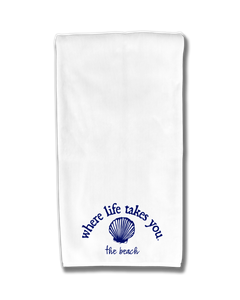 "WLTY Shell ""The Beach"" Flour Sack Kitchen Towel"