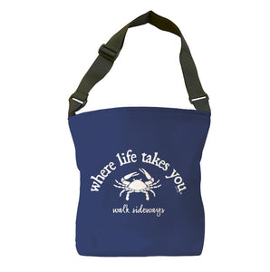 Walk Sideways (Navy) Tote Bag