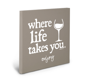 Enjoy (Khaki) Gallery Wrapped Canvas