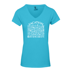 "WLTY ""Vacation"" Ladies V-Neck  T-Shirt"
