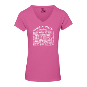 "WLTY ""Holly Jolly"" Ladies V-Neck T-Shirt"