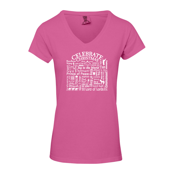 "WLTY ""Celebrate Christmas"" Ladies V-Neck T-Shirt"