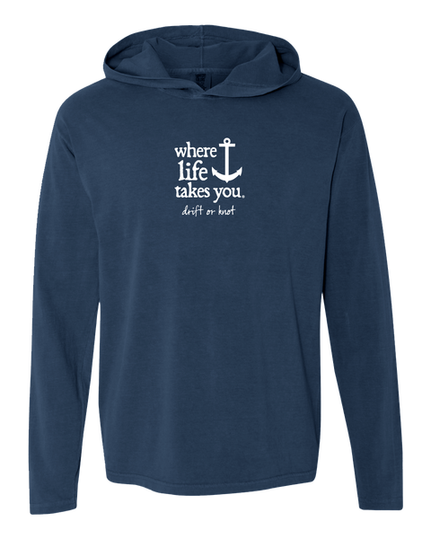"WLTY Anchor ""Drift or Knot"" Adult Hooded Long Sleeve"