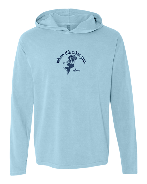 "WLTY Mermaid ""Believe"" Adult Hooded Long Sleeve"