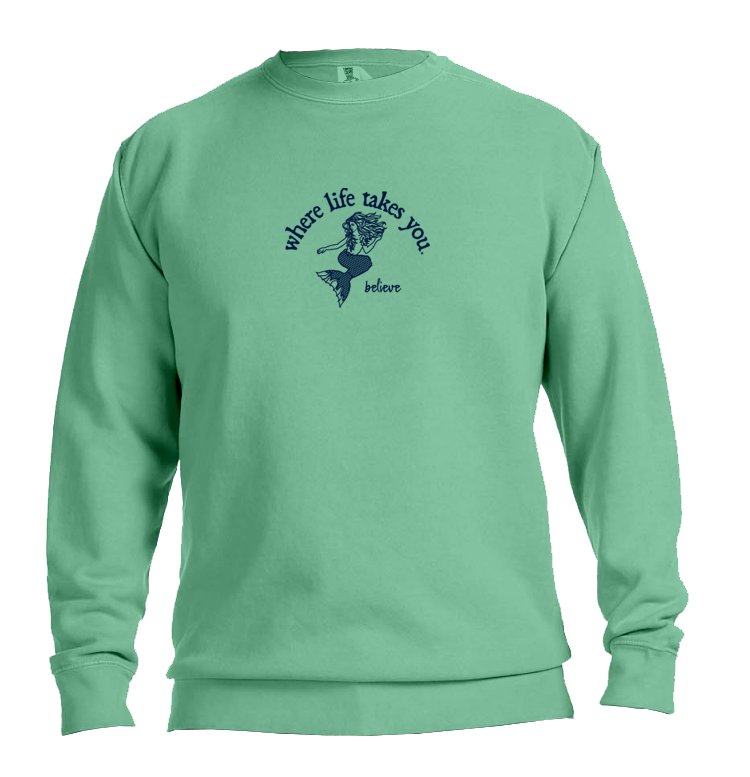 "WLTY Mermaid ""Believe"" Adult Crewneck Sweatshirt"