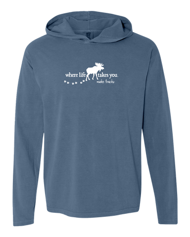 "WLTY Moose ""Make Tracks"" Adult Hooded Long Sleeve"