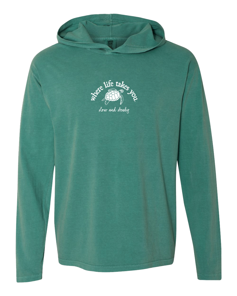 "WLTY Turtle ""Slow and Steady"" Adult Hooded Long Sleeve"