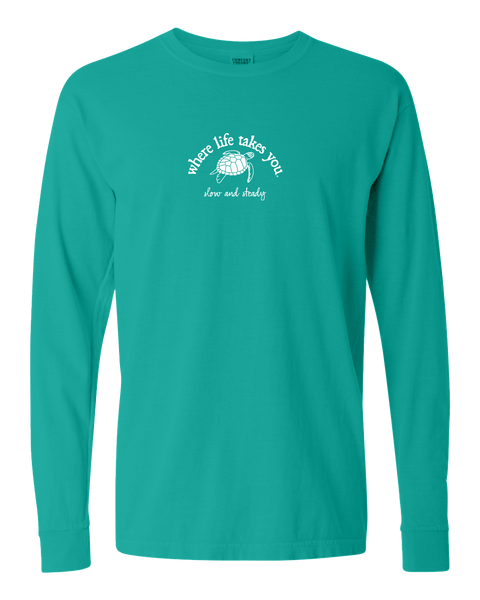 "WLTY Turtle ""Slow and Steady"" Adult Long Sleeve T-Shirt"