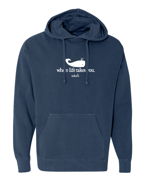 "WLTY Whale ""Exhale"" Adult Hooded Sweatshirt"
