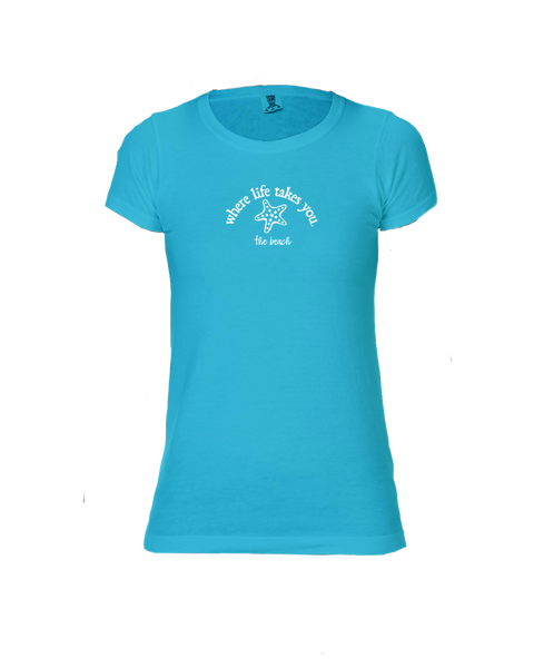 "WLTY Starfish ""The Beach"" Ladies Short Sleeve T-Shirt"