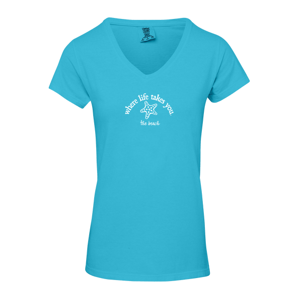 "WLTY Starfish ""The Beach"" Ladies Short V-Neck T-Shirt"