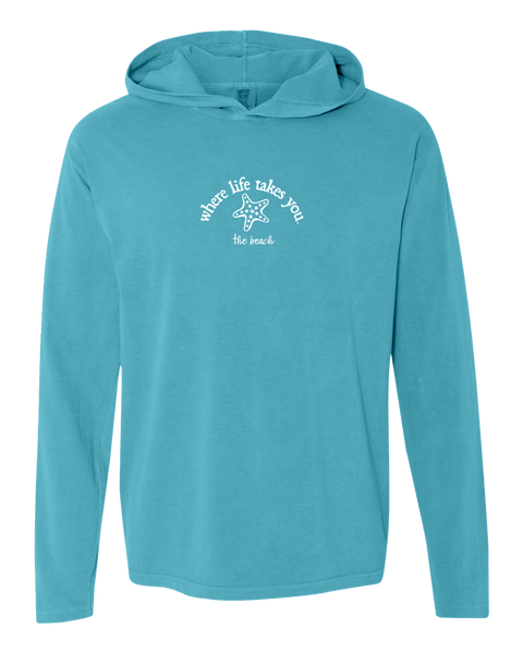 "WLTY Starfish ""The Beach"" Adult Hooded Long Sleeve"