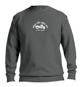 "WLTY Motorcycle ""On Two Wheels"" Adult Crewneck Sweatshirt"