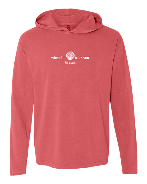 "WLTY Scallops Shell ""Beach"" Adult Hooded Long Sleeve"